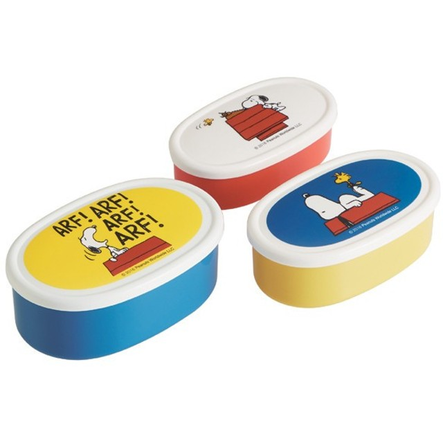 お弁当箱 シール容器 スヌーピー ハウス 3個入 子供用 キャラクター ( ランチボックス 保存容器 弁当箱 )