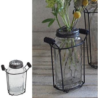 フラワーベース アイアンボトルベース Sサイズ ( 花瓶 花器 ガラス )