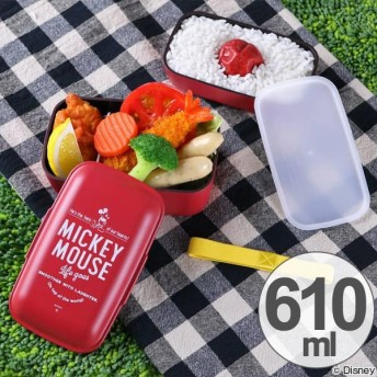 お弁当箱 ドーム型 アメリカンヴィンテージ ミッキーマウス 610ml 2段 日本製 ( 弁当箱 レンジ対応 二段 )