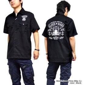 BILLY EIGHT ロカビリーシャツ ボーリングシャツ ダーツシャツ メンズ バイカー ロック 半袖シャツ ブラック 黒