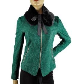 SALE 秋冬 イタリア インポート ジャケット POIS ジャカードジャケット+ファー襟 グリーン