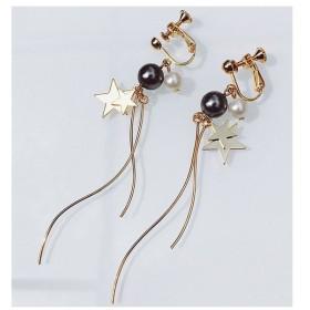 イヤリング レディース ノンホール おしゃれ 可愛い シンプル 大人っぽい ストーン ブラック プレゼント デート 華やか ゴールド 金色 きれい 星