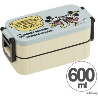 お弁当箱 2段 ミッキーマウス ミニーマウス ヴィンテージコミック 600ml 箸付き レディース ( ランチボックス 弁当箱 2段弁当箱 )