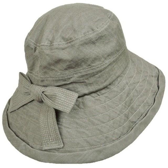 【外出用】【医療用帽子】 コットンハット:カーキリボンハット