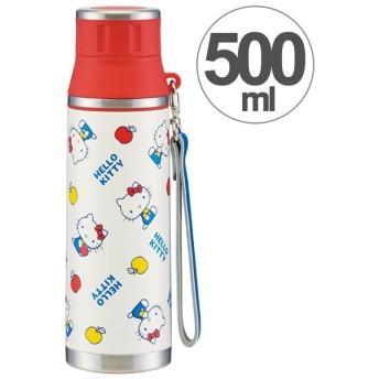 水筒 ハローキティ 70年代 直飲み ステンレスマグボトル 500ml ストラップ付き ( ステンレスボトル 保温 保冷 )
