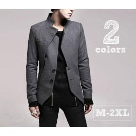 メンズジャケット スタンドカラー ジャケット メンズ アウター デザインジャケット アシンメトリー 無地 グレー ブラック カジュアル アシメ ライト