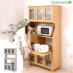 ■在庫限り・入荷なし■レンジ台 北欧風 Lycka land(リュッカ ランド) 幅90cm ( キッチン収納 レンジボード )