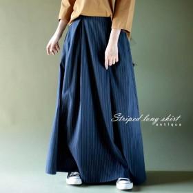 いつもと違う柄を選ぶこと。ストライプロングスカート・再再販。『きちんと感出すスカートでまとめる。』##「G」メール便不可