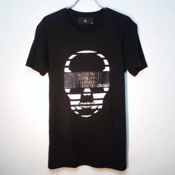 (本牛革)Skull Swarovski leather T-shirt Black