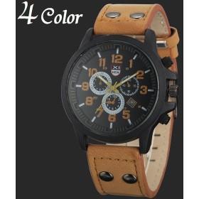 61242185e9 腕時計 アナログ ラウンドウォッチ クロノグラフ フェイクレザーベルト シンプル メンズ 文字盤 カジュアル おしゃれ かっこいい