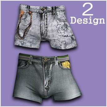 メンズ ボクサーパンツ デニムデザイン デザインパンツ ショーツ 下着 インナー アンダーウェア アンダーウエア パンツ ウエストゴム 通気性 立体構