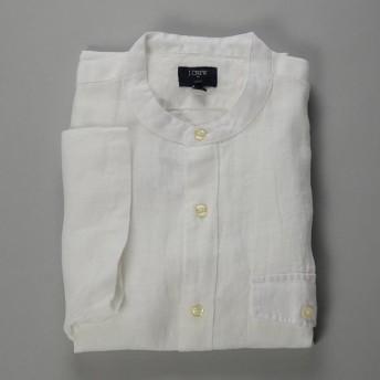 【FINAL SALE】J.CREW / ジェイクルー / NEWリネンバンドカラーSSシャツ / ホワイト