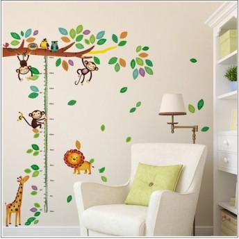 ウォールステッカー 壁紙 壁紙シール ルームデコレーション 壁装飾 子供 子供部屋 女の子 男の子 キリン ふくろう 鳥 葉っぱ 猿 木 小動物 ライ