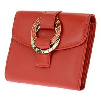 bvlgari ブルガリ 33901 calf/red 三つ折り財布(小銭入れ付) calf