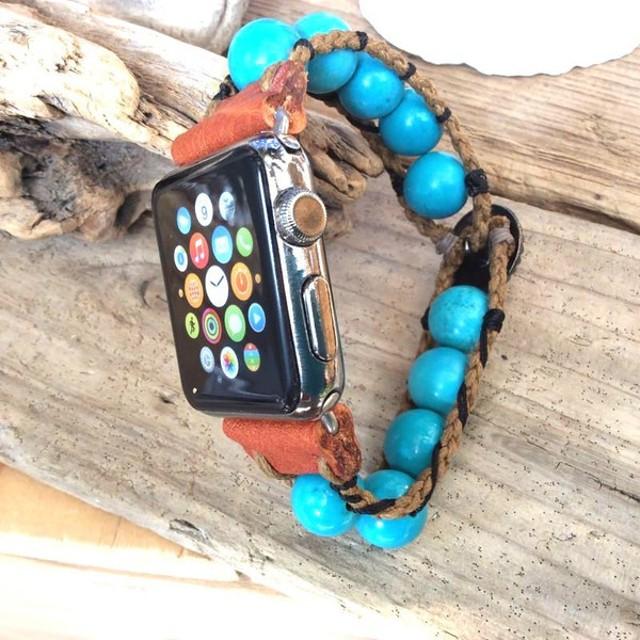 天然石 パワーストーン Apple Watch 交換バンド 【 モーリーストーン 】 湘南デザイナー ハンドメイド 【 ターコイズ 】
