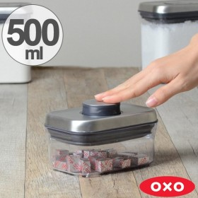 OXO オクソー ポップコンテナ ステンレス レクタングル ミニ 500ml ( 保存容器 密閉 プラスチック 透明 )