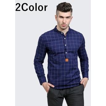 チェックシャツ ノーカラーシャツ スタンドカラーシャツ プルオーバーシャツ カジュアルシャツ メンズ 男性用 トップス 秋冬 長袖 チェック柄 シンプ