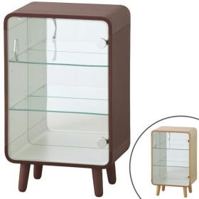 コレクションケース 3段 ガラス扉 背面ミラー 脚付 曲げ木風 幅36cm ( ディスプレイ棚 ディスプレイラック コレクション棚 鏡付 )