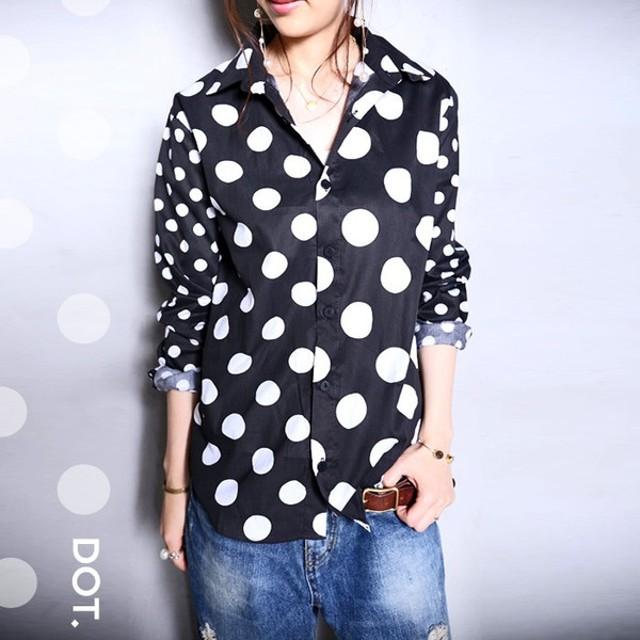 トップス シャツ ユニセックス 水玉 ドット切替えシャツ・再販。「G」(50)メール便可