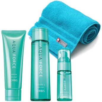 ORBIS(オルビス) 乾燥・インナードライ対策スキンケア3ステップセット (アクアフォース洗顔料・化粧水・保湿液) (さっぱりタイプ・ふわふわ抗菌タオル付き