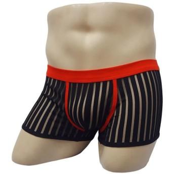 メンズショーツ パンツ ボクサーパンツ ストライプ 透けてる おしゃれ 男性 メンズ 男性用 メンズ用 下着 シンプル 無地 ウエストゴム ワンサイズ