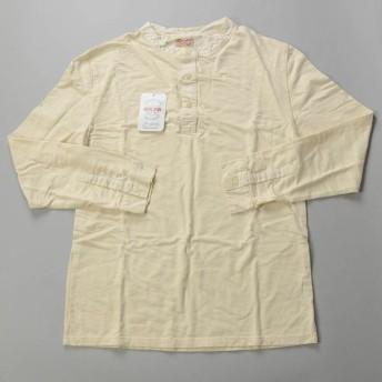 J.CREW×Homespun Knitwear / ジェイクルー ×ホームスパンニットウェア/ オーガニックコットンヘンリーネックTシャツ / ナチュラルホワイト