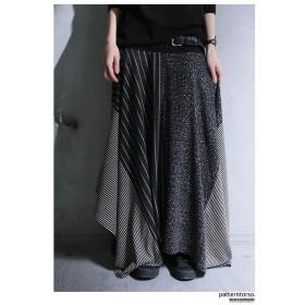 ストライプとドット柄で描く変形ライン。変形スカート・再販。##メール便不可