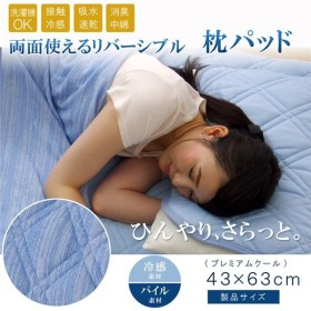 枕パッド 洗える 冷感 涼感 接触冷感 消臭 部屋干し 『プレミアムクール』 約43×63cm