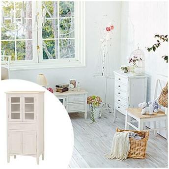 ■在庫限り・入荷なし■食器棚 ブロカントシリーズ アンティーク調 幅60cm ホワイトウッド
