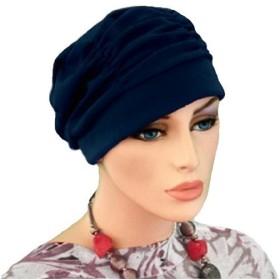 【抗がん剤治療】【医療用帽子】【ケア帽子】 タックキャップ:ネイビー