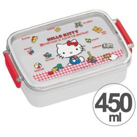 お弁当箱 角型 ハローキティ ギンガムチェック 450ml 子供用 キャラクター ( タイトランチボックス 食洗機対応 弁当箱 )