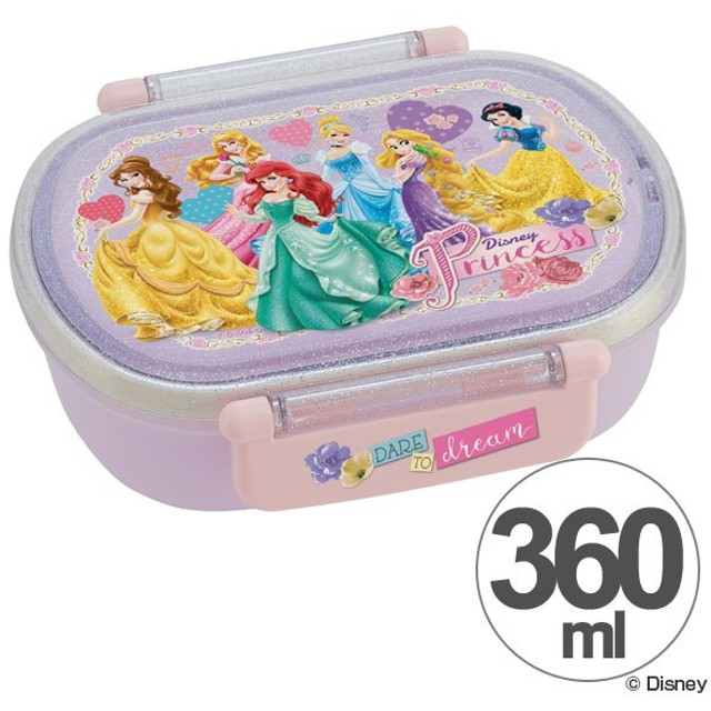 お弁当箱 小判型 ディズニープリンセス 360ml 子供用 キャラクター ( 弁当箱 ランチボックス プラスチック )
