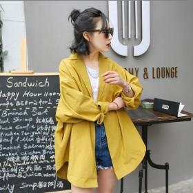 テーラードジャケット ロング丈 長袖 シングル 薄手 レディース アウター シンプル 無地 紫外線対策 冷房対策 スプリングコート ゆったり