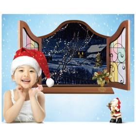 ウォールステッカー ウォールシール 冬の風景画 雪 スノー SNOW クリスマスツリー 綺麗 癒し 窓辺 だまし絵 トリックアート 3D 立体的 壁シ