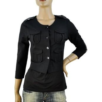 9/1迄30%OFFSALE 春夏 イタリア インポート ジャケット ELEONORA AMADEI 7分袖デザインジャケット 黒