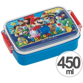 お弁当箱 角型 スーパーマリオ 450ml 子供用 キャラクター ( タイトランチボックス 食洗機対応 弁当箱 )
