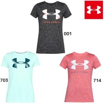 2018年NEWモデル アンダーアーマー テックグラフィックツイストクルー 1309897 レディース Tシャツ 半袖 ロゴTee ジョギング ランニング ヨガ 吸汗速乾