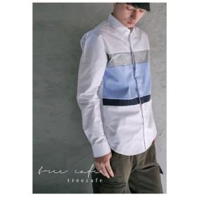 ファイナルバーゲン。トップス 切り替え ボーダー 綿100% デザインシャツ・再再販。(100)メール便可(返品・キャンセル・交換不可。)