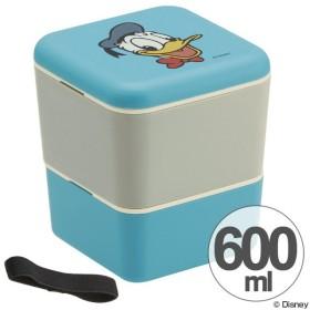 お弁当箱 シンプルランチボックス 2段 ドナルドダック タイムレスメモリー 600ml 角型 ベルト付き ( 弁当箱 食洗機対応 ランチボックス レンジ対応 )