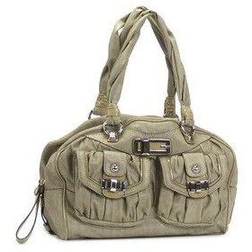 ゲス GUESS ショルダーバッグ JANIE VY277109 MEDIUM BOX SATCHEL SAGE L.GY