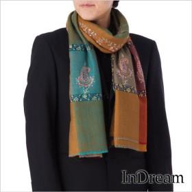 メンズパシュミナ刺繍ショール [100cm巾] オレンジ03 インド ストール カシミールショール 着物ショール 結婚式やパーティー フォーマル ギフト 送料無料