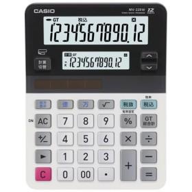(まとめ) カシオ CASIO ツイン液晶電卓 ミエ2くん 12桁+12桁 ミニジャストタイプ MV-220W-N 1台 〔×3セット〕