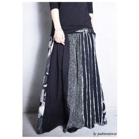 大人気の切替えスカートに新作登場。柄切替えロングスカート・再再販。##メール便不可