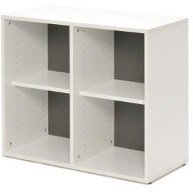 シェルフ 2列2段 格子型 プリーマ 幅80cm  ( ラック 棚 書庫 収納家具 ファイル棚 格子 )