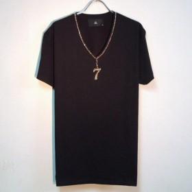 Seven Gold Swarovski necklace T-shirt Black
