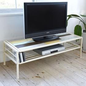 テレビ台 ローボード CHROME 天然木 スチールフレーム 幅120cm ( テレビボード TV台 TVボード AV収納 AVボード )