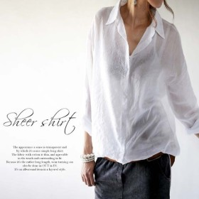 ライトなシャツ。軽く羽織って空気感を出す。ライトロングシャツ##・メール便不可