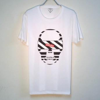 Skull Black & White Line T Shirt White