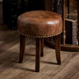 スツール 丸スツール 丸いす ラウンドスツール 椅子 いす イス チェア チェアー オットマン 丸型 スタッズ 足置き 1人掛け 天然木 革 皮 玄関 男前 インテリア