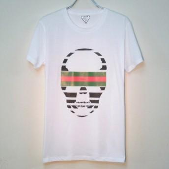 Skull Green Red Line T-shirt white